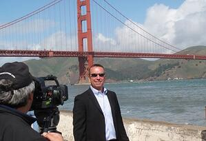 Professional video production in San Francisco in front of Golden Gate Bridge