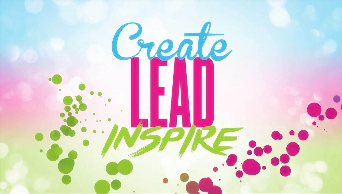 Create, Lead Inspire motivational video theme graphic with moving bubbles revealing title