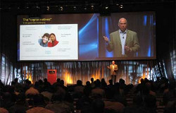 National Sales Meeting with a Keynote speaker and a blended screen